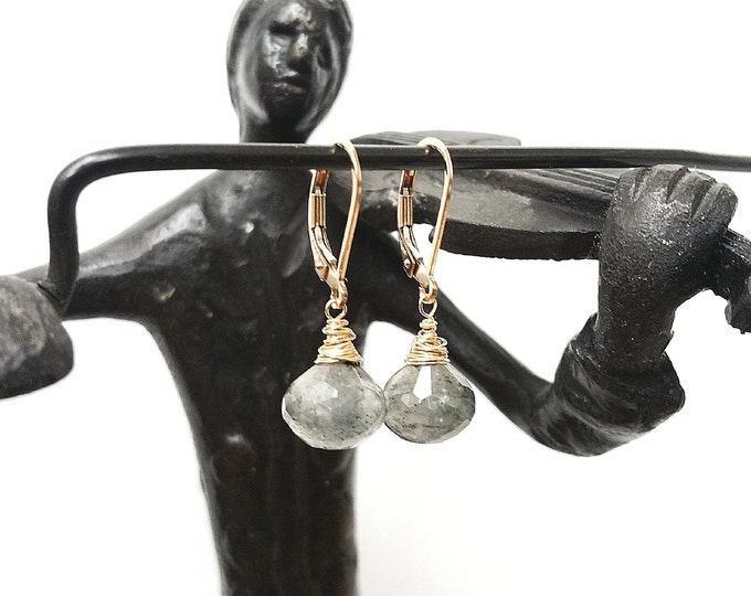 Black Rutilated Quartz Earrings, Black Rutilated Quartz, Rutilated Quartz, Tourmalinated Quartz, Tourmalinated Quartz, Gold