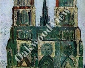 Notre Dame Print by Maurice Utrillo, Paris France Cathedral, French Scene, Artist, Unframed 9x11 Impressionist Artwork, Color, FREE SHIPPING