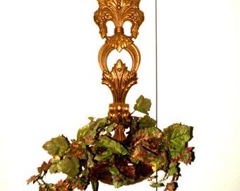Hanging Spoon Planter- Patio Decor Outdoor Garden Artificial Greens- Mediterranean 31 Inch Tall Gold Elegant- Gardening Decoration