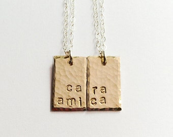 Best Friend Gift, Sister Gift, Friendship Necklace Set, Sister Jewelry Set, Mother Daughter Necklace Set, Initial Necklace, Cara Amica