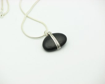 Beach Stone Jewelry Wire Wrapped Jewelry Handmade Natural Stone Necklace Eco Friendly Sterling Silver Artisan Made
