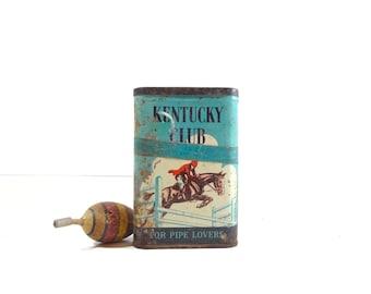 Vintage Tobacco Tin, Kentucky Club Tobacco Tin, Rustic Decor
