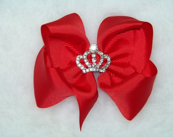 "Red Hair Bow or Headband / 5"" BIG Bow / Rhinestone Crown / Flower Girl / Photo Prop / Pageant / Infant / Baby / Girl / Toddler / Boutique"