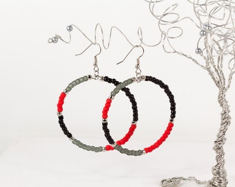 Large Hoop Earrings Color Blocking in Black Gray and Poppy Red Bright Fall Fashion Earrings