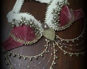 Tribal Fusion Bra with Pearl Drapes Mauve Tribal Belly Dance Bra Top Tribal Fusion Bellydance Costume Tribal Fusion Costume Silver White