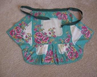 Vintage Handkerchief Kitchen Apron, Floral Hand Stitched Apron, Hankie Apron