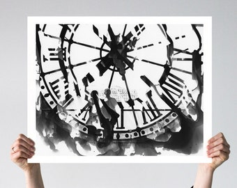 Large Wall Art, Paris Photography, Affordable Wall Art, Abstract, Musee D'Orsay, Travel Decor, Black and White Photography, Paris Decor