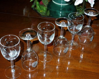 """6 JAVIT ROSE COLLECTION Cut Wine Crystal Goblets Sherry Stems 5 3/4"""" Etched Glasses Clear Fine Cut Leaves Set Six Excellent Condition"""