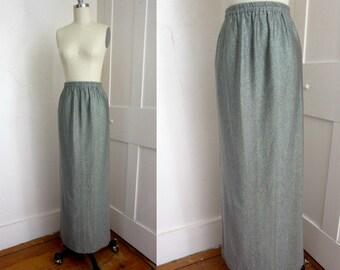 70s Glitter Maxi Skirt - Lined - Formal - Silver Threads - Black Tie - Long Skirt - Disco - Huey Waltzer - Metallic Long Skirt