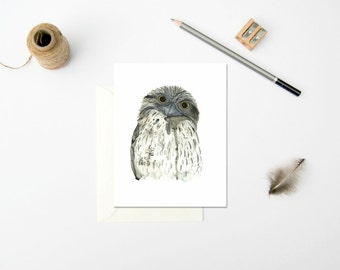 Tawny Frogmouth Card, Australian Bird, Australian Gift Card, Watercolour Bird Card, Australian Fauna, Greeting Card, Nature Illustration