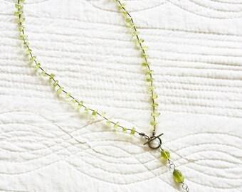 Vintage Cottage Home Celadon Green Polished Quartz, Aventurine, and Sterling Silver Teardrop Necklace, Olives and Doves