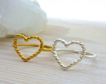 Heart Ring Gold, Heart Ring Silver, Minimal Ring, Adjustable Ring, Heart Jewelry, Love Ring, Promise Ring, Girlfriend Gift, Delicate Ring