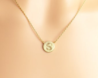 Uppercase letter circle initial necklace,capital letter,Gold,silver Personalized disk necklace,Christmas present,Gift idea,birthday present,