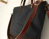 Commuter Bag | Mid-Size Waxed Canvas Leather Tote | Crossbody Shoulder Bag | Messenger | Zipper Top | 4 Pockets | Grey