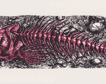 Skeletal Trout — Silkscreened art print