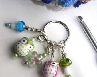 Woodland owl crochet stitch markers, keepers, holders - pastel ceramic owl, woodland  - ready to ship