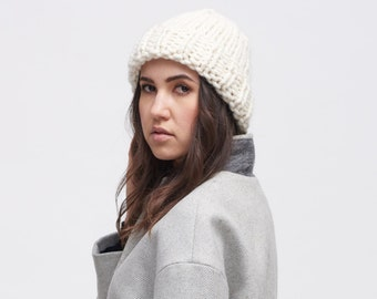 knit beanie . knit hat . knit slouchy beanie . slouchy beanie . wool hat . knit wool hat  / Fisherman's Rib Cap /  pictured : Ivory