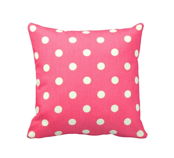 Hot Pink Pillow Cover Pink Throw Pillow Cover Pink Polka Dots