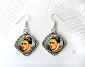 Frida Kahlo Earrings, Frida Kahlo Self Portrait Pendant, Frida Earring and Necklace Set, Frida Kahlo Gift, Mexican Artist, Women Artist