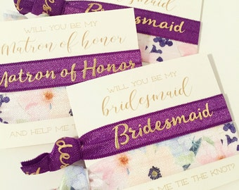 Will You Be My Bridesmaid, Maid & Matron of Honor Hair Tie Gifts | Plum Purple Bridesmaid Proposal Gifts, Floral Wedding Party Proposal Gift
