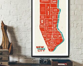 New York City - NYC - Manhattan Digital Art - Poster, Digital Print, Wall-Art, Home Decor, Gift