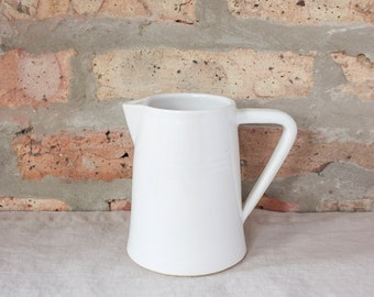 Small Modern Minimal White Ceramic Pitcher by Barombi Studios