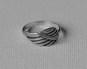 Angel wing ring, sterling silver ring, wing ring, wing jewelry, angel jewelry, silver wing, angel ring, angel gift, feather ring, women gift