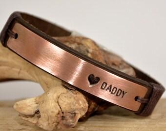 FAST SHIPPING, Daddy Engraved Bracelet, Men's Leather Bracelet, Father Days Bracelet, Men's Personalized Bracelet, Men Bracelet, Father Gift