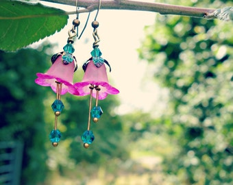 Flower Earrings - Dangle Earrings - Floral Earrings - Drop Earrings - Turquoise Earrings - Pink Earrings - Woodland Wedding - Nature Jewelry