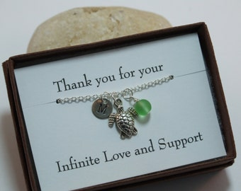 Sterling Silver Necklace, Personalized Charm Necklace, Turtle Sea glass Necklace, Bridesmaid Gifts, Friendship Necklaces