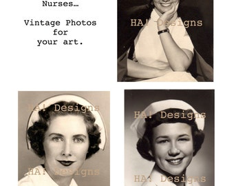 Vintage Photos - Three Nurse Portraits - Nurses - INSTANT DOWNLOAD