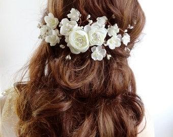 bridal hair vine, floral hair clip,  bridal hair piece, bridal hair accessories, wedding hairpiece, bridal hair comb, flower headpiece