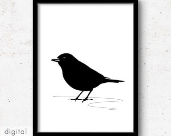 Black Bird Print Scandinavian Minimalist Blackbird Download Modern Black & White Nordic Style Nursery Art Ornithologist Gift Halloween Prop