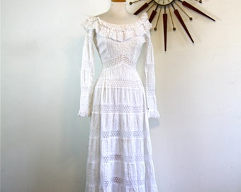 Mexican Wedding Dress Vintage 1970s LILLIE RUBIN White Spanish Crocheted Lace Pleated Tiered Long Sleeve Scoop Neck 60s 70s Long Maxi Dress