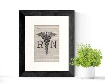 Nurse RN Registered Nurse Caduceus over Vintage Medical Book Page - Nurse Graduation Gift, Nurse Gift, Nursing Graduation, Nurses Day Gift,