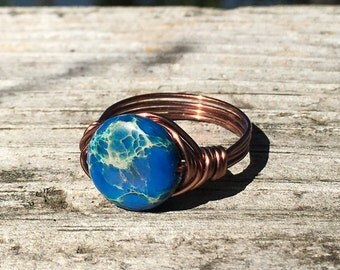 Size 9.5 blue imperial jasper wire wrapped antique copper ring - women men unisex jewelry rustic gemstone stone metaphysical cobalt simple