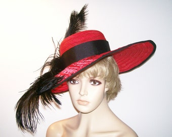 Womens Red Hat, Extra wide brim, Red and Black Polka Dots, Kentucky Derby Hat, Garden Party Hat or Victorian Tea Party