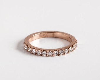 Diamond Engagement Band, Pave Diamonds Ring, Diamonds Stackable Ring, Diamond Wedding Band 18K Gold, Diamonds Eternity Ring