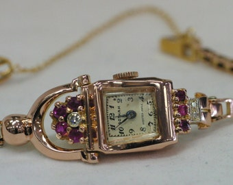 Vintage Gotham 1930s 14 Karat Rose Gold Ruby And Diamond Watch With Safety Chain