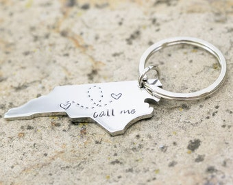 Custom State Keychain - North Carolina Keychain Stainless Steel - Going Away Gift - Long Distance Relationship Gift Personalized Message