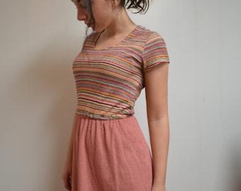 70s Striped Dress Small