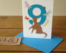 9th birthday card - happy 9th card - age 9 today - nine year old - birthday boy - birthday girl - cards for kids - ninth - 9 birthday cards