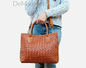 Leather bag - brown leather bag - leather purse - woven leather bag - leather crossbody bag - leather handbag - leather bag women - |hs|
