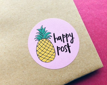Pineapple Happy Mail Stickers, Happy Post Sticker Sheet, Postage Packaging Stickers, Mailing Shipping Stickers, Gift Wrapping, Envelope Seal