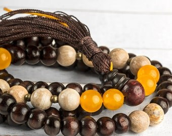 Rosewood Mala, Wood Mala, Healing Necklace, Tibetan Mala Necklace, 108 Prayer beads, Chakra Mala, Wood Bead Necklace