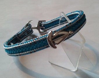 Blue Ships Rope Bracelet with Yacht Charm