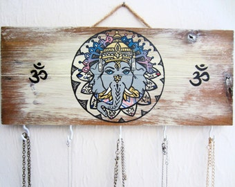 Elephant Decor / Ganesha Painting / Jewelry Display / Necklace Stand / Key Holder / Wood Signs / Necklace Holder / Wall Mount Jewelry Hanger