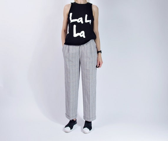 SALE - 80s Lindex Wide Legs Glencheck High Waisted Tomboy Pants / Size M