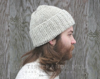 Man knit hat - Mens knit hat - Mens beanie - Fisherman beanie - Man wool hat // The Classic Cuffed Beanie | Oatmeal