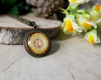 Manipura Chakra Necklace, Antique Bronze Pendant, Glass Cabochon Pendant With Chain
